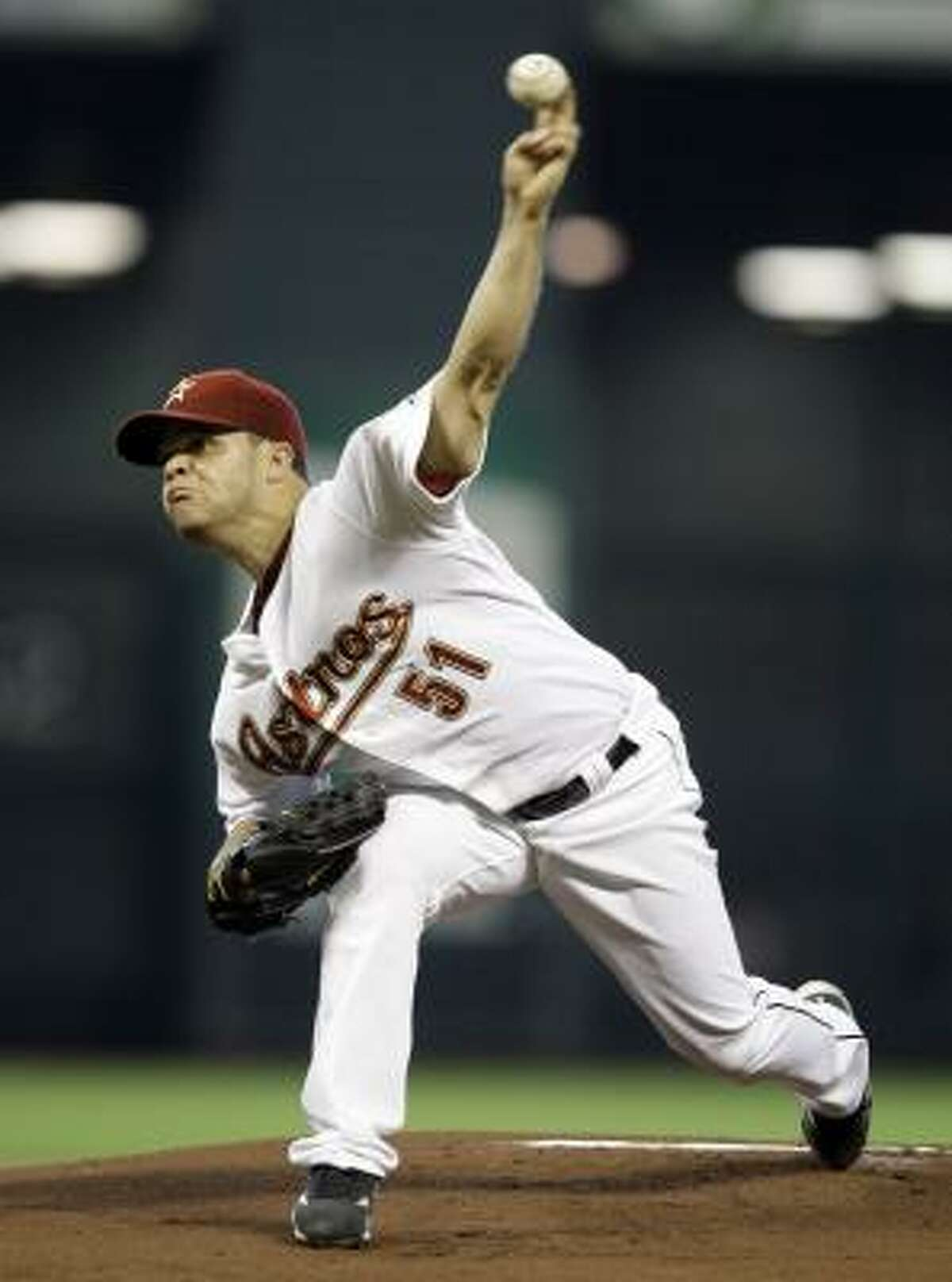 July 8: Astros 5, Pirates 0 Astros starter Wandy Rodriguez throws during the first inning against the Pittsburgh Pirates on Wednesday in Houston. Rodriguez (8-6) went the distance, allowing just five hits on 124 pitches in the shutout.