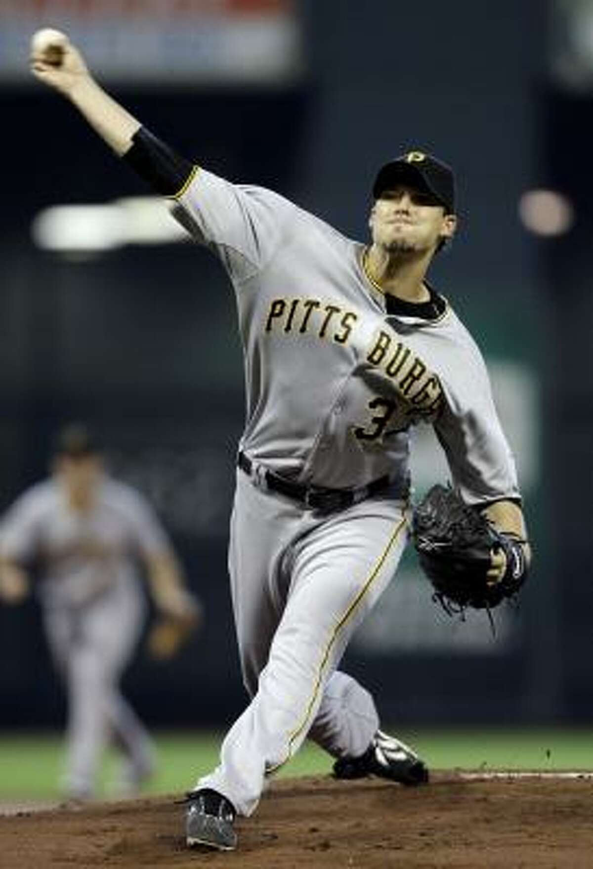 Pirates starter Charlie Morton throws during the first inning against the Astros. Morton gave up five earned runs on 10 hits in four innings pitched. He fell to 1-2 with the loss.