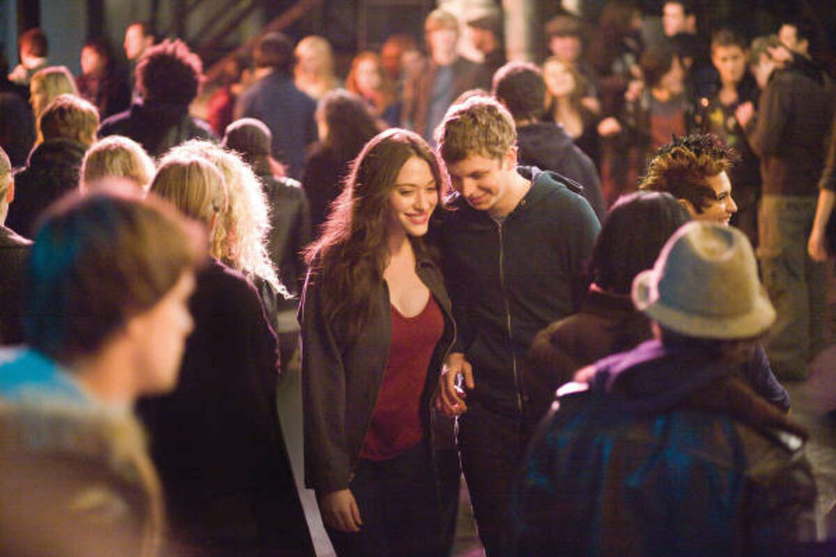 """Nick and Norah's Infinite Playlist: Nick (Michael Cera) just got dumped and is working through the ensuing month-long funk, but Norah (Kat Dennings) gets his attention with one question: """"Would you be my boyfriend for five minutes?"""" They kiss to make someone else jealous, and the rest, as they say, is history."""