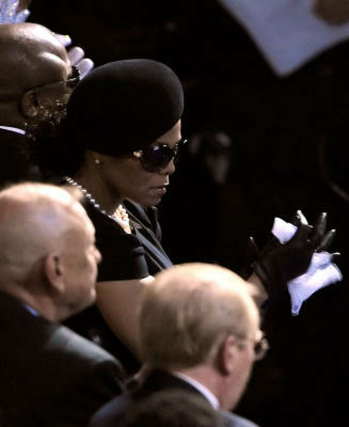 Janet Jackson attends a memorial service for her brother Michael Jackson at the Staples Center.