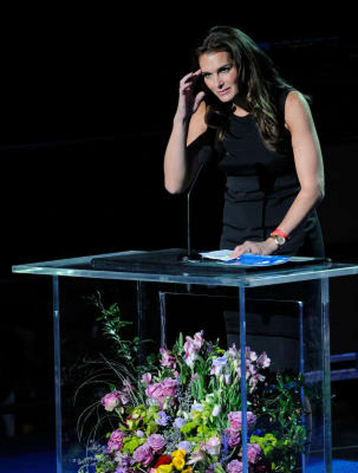 Brooke Shields speaks at the Michael Jackson public memorial service.