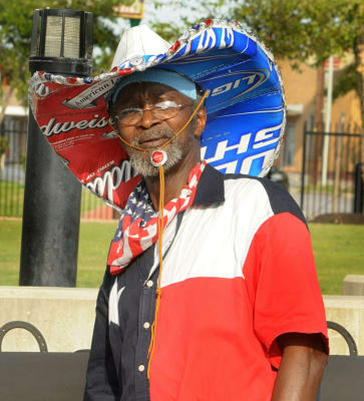 CONROE JAZZ: Billy Gipson, of Conroe, wears one of his handmade hats during the Conroe Jazz and More Society's Summer Music Fest at Heritage Place Park in downtown Conroe.