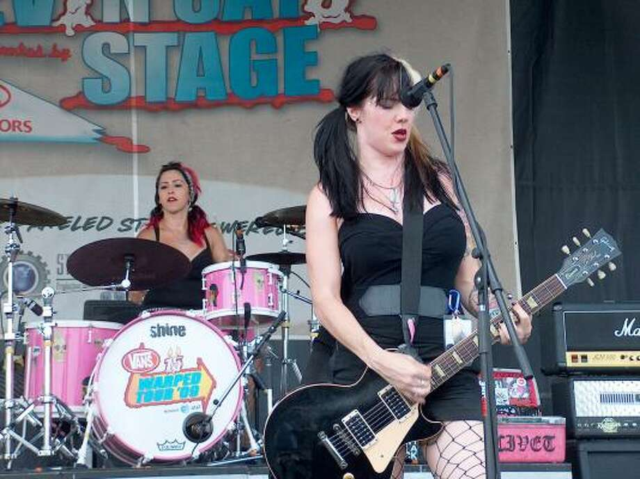 Guitarist Liza Graves and drummer Roxie Darling from the band Civet Photo: Mike Damante, Chronicle