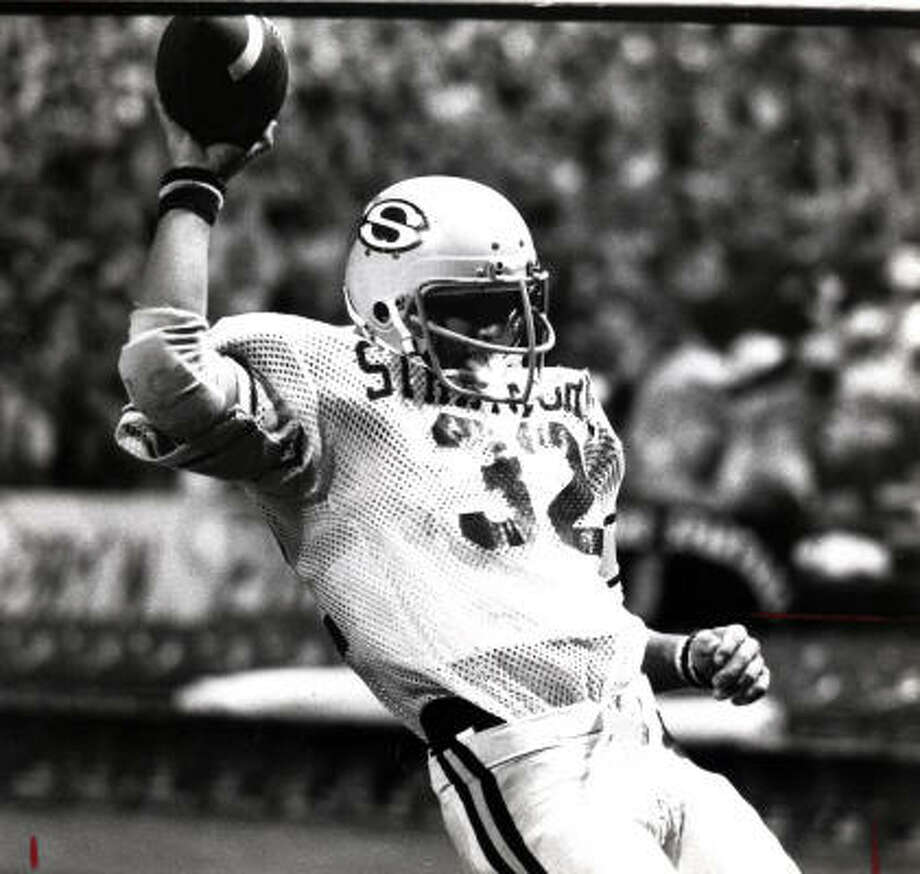 Craig James rushed for a Class 5A record 2,411 yards to lead Stratford to 1978 state championship. At SMU, James was MVP of the 1980 Holiday Bowl. He was a three-time All-Southwest Conference selection at SMU with 3,743 career rushing yards. He played five seasons with the Patriots, rushing for 1,227 yards in 1985. Photo: Chronicle