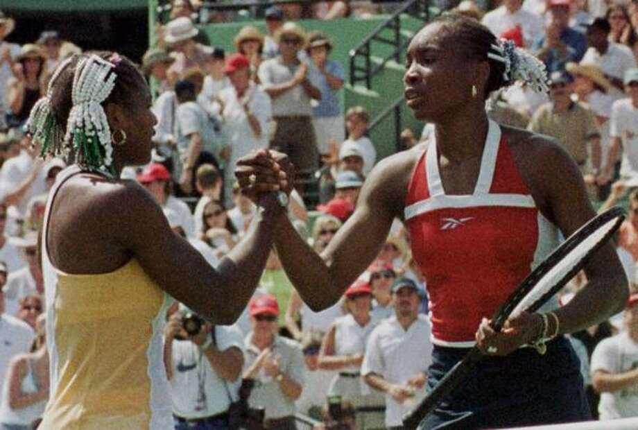 Lipton Championship, Key Biscayne, Fla. — March, 28, 1999:Venus Williams, right, took the measure of her little sis in their first finals meeting 6-1, 4-6, 6-4. Advantage: Venus, 1-0. Photo: ALAN DIAZ, AP