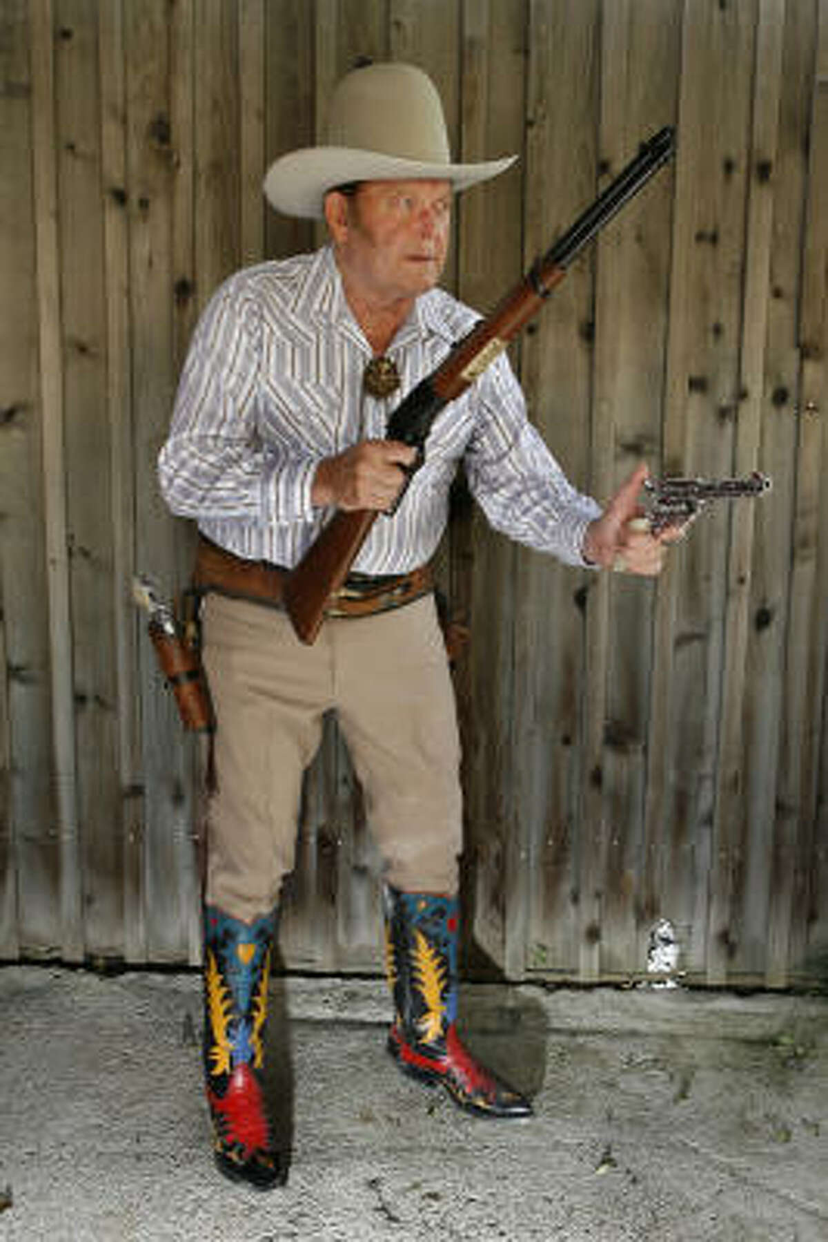Joe Bowman, an internationally know Wild West marksman, performed in Wild West touring shows here and in Europe.