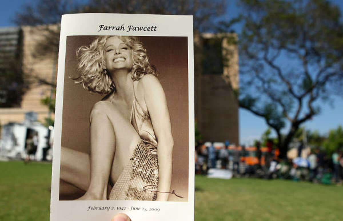 A program from Fawcett's funeral services.