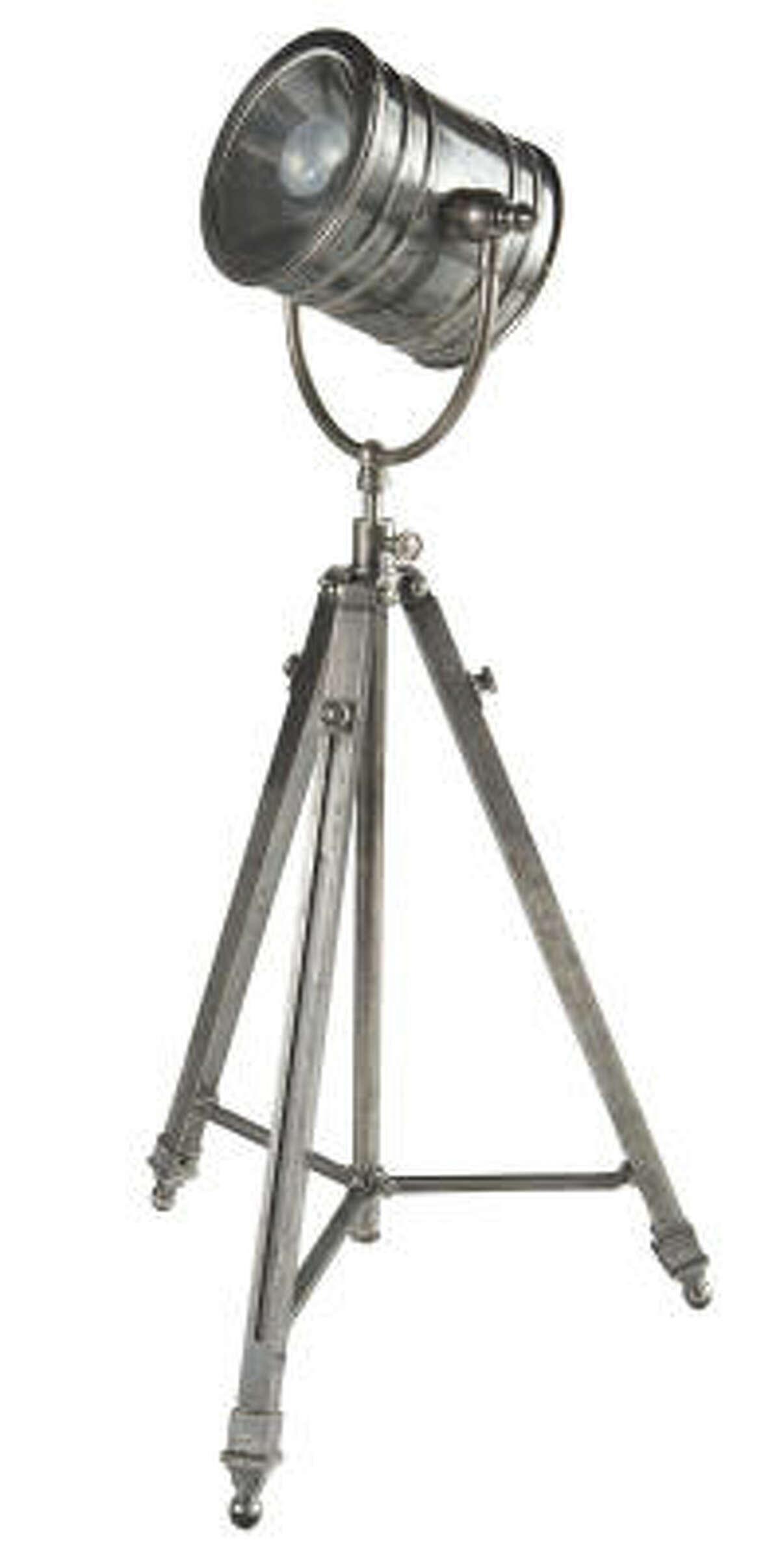 Antiqued Metal Tripod Lamp, $449, Wisteria.com