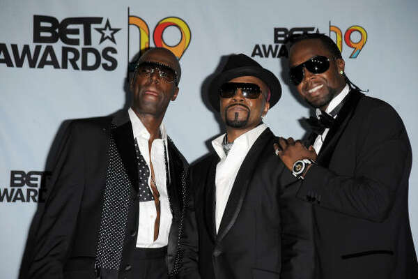 (L-R) Aaron Hall, Teddy Riley and Damion Hall of the group Guy pose in the press room during the 2009 BET Awards.