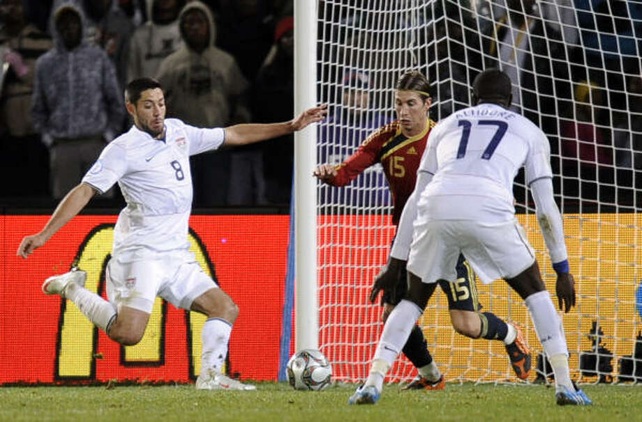 United States 2, Spain 0 Clint Dempsey scores in the second half to give the U.S. some breathing room and seal Spain's fate. The U.S. will play in the finals of the Confederations Cup for the first time. Photo: Martin Meissner, AP