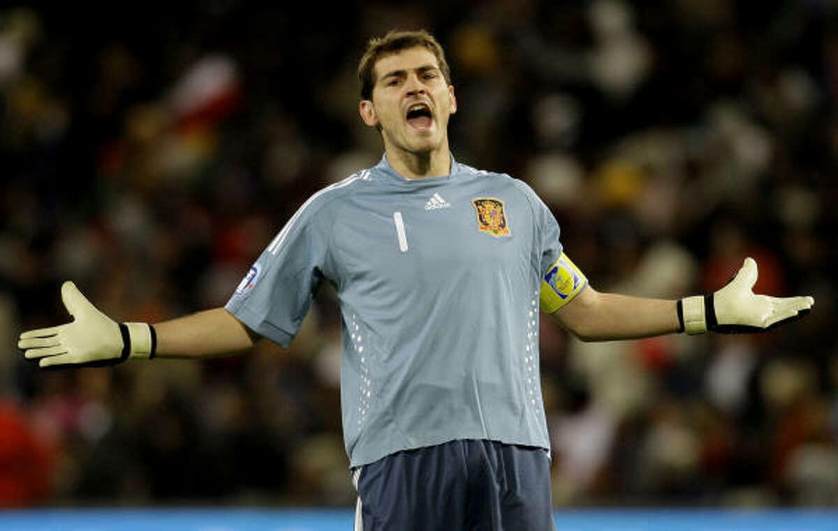United States 2, Spain 0 Spain's goalkeeper Iker Casillas can't believe what's happening.