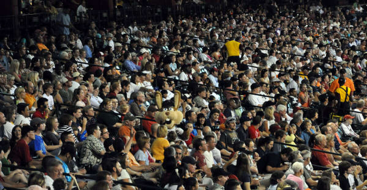Where's Jack? Try to spot the Astros mascot Junction Jack in the crowd at Minute Maid Park.