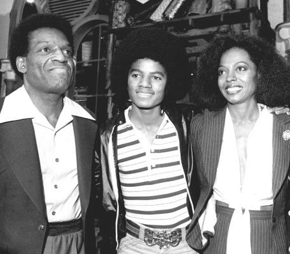 Stars of the The Wiz, a film adaptation of the Broadway musical of the same title in New York City, Sept. 28, 1977. From left: Nipsey Russell, Michael Jackson and Diana Ross.