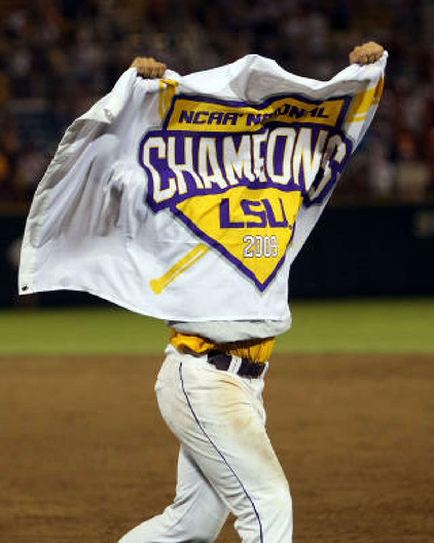 LSU's Sean Ochinko celebrates winning the College World Series.