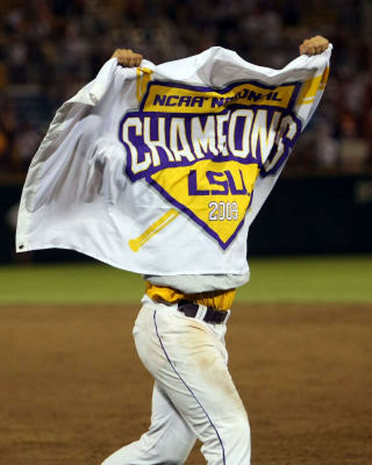 LSU's Sean Ochinko celebrates winning the College World Series. Photo: Elsa, Getty Images