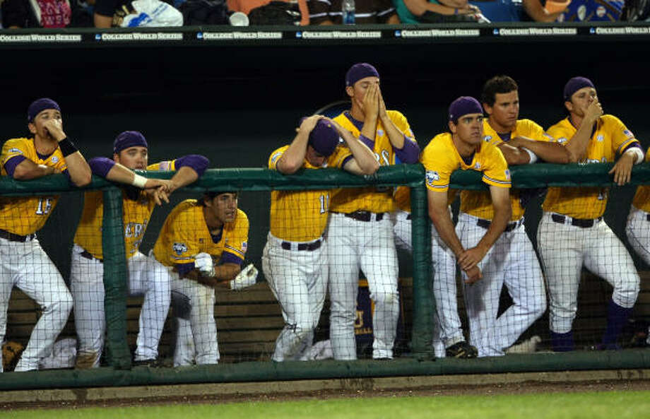 The LSU dugout reacts to the loss after Game 2. Photo: Elsa, Getty Images