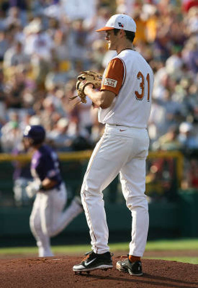 Texas starter Chance Ruffin looks on after allowing a first inning home run to LSU's Ryan Schimpf. Photo: Elsa, Getty Images