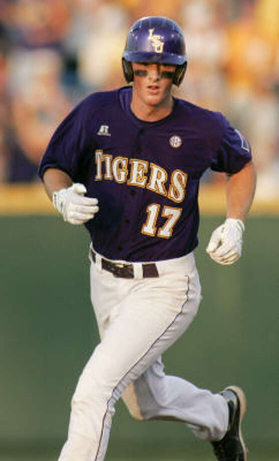 LSU's DJ LeMahieu rounds the bases after hitting a solo home run against Texas in the seventh inning. Photo: Eric Francis, AP