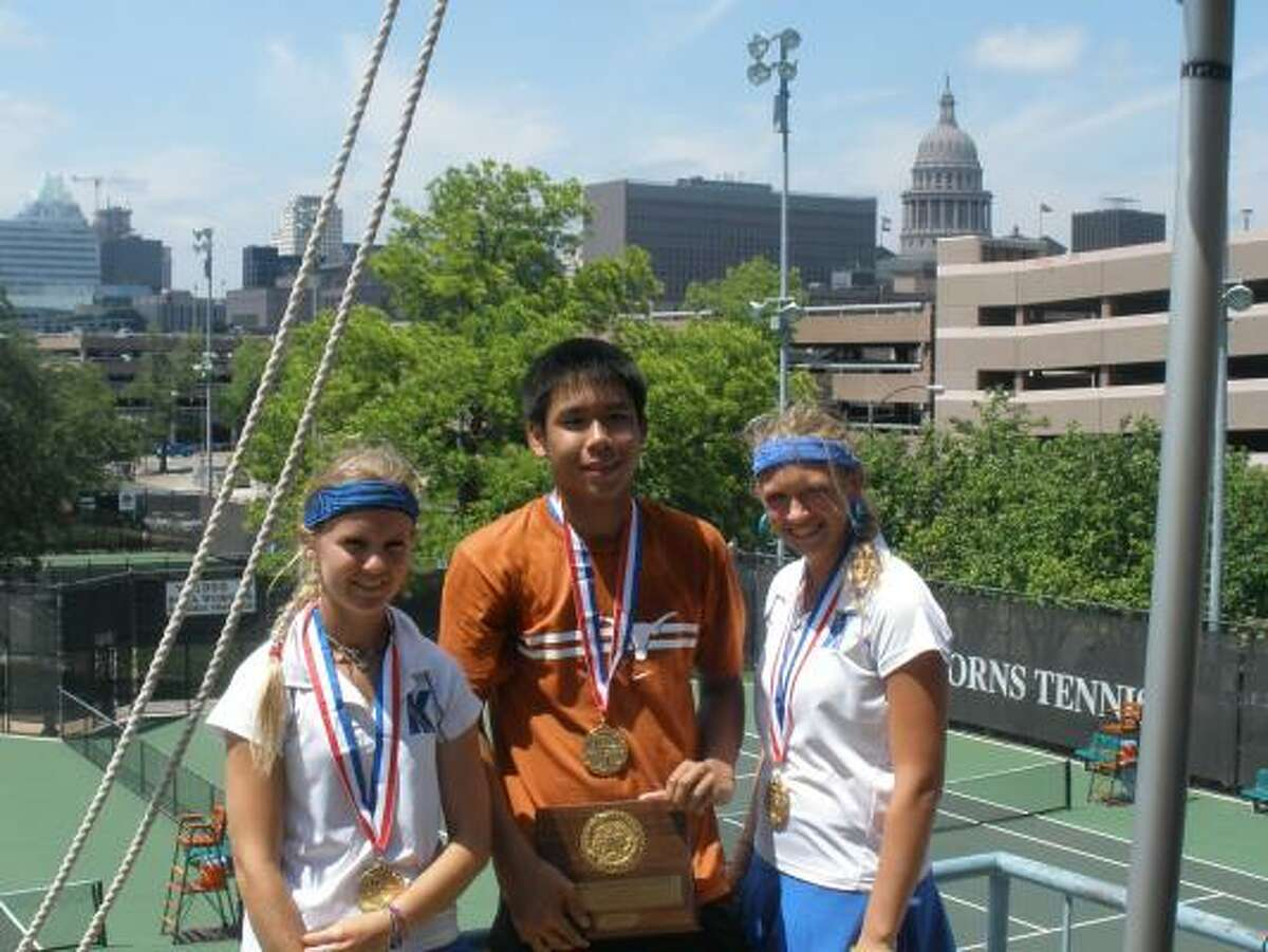 Klein's Ariel Morton, left, Klein Collins' Ben Chen and Klein's Micah Hermsdorf all claimed state championships at this year's 5A state tennis tournament.