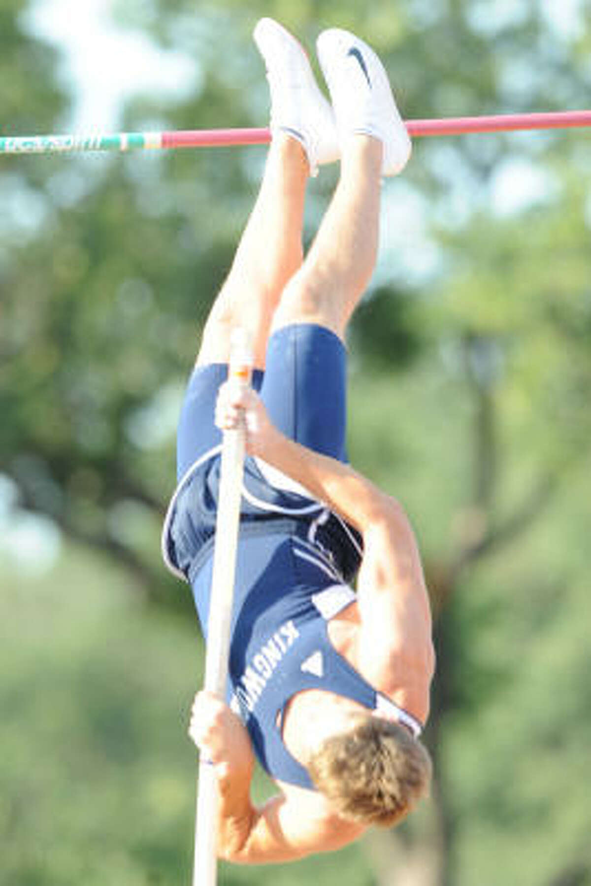 State track meet: Kingwood's Greg Lupton competes in the pole vault during the state track meet in Austin.