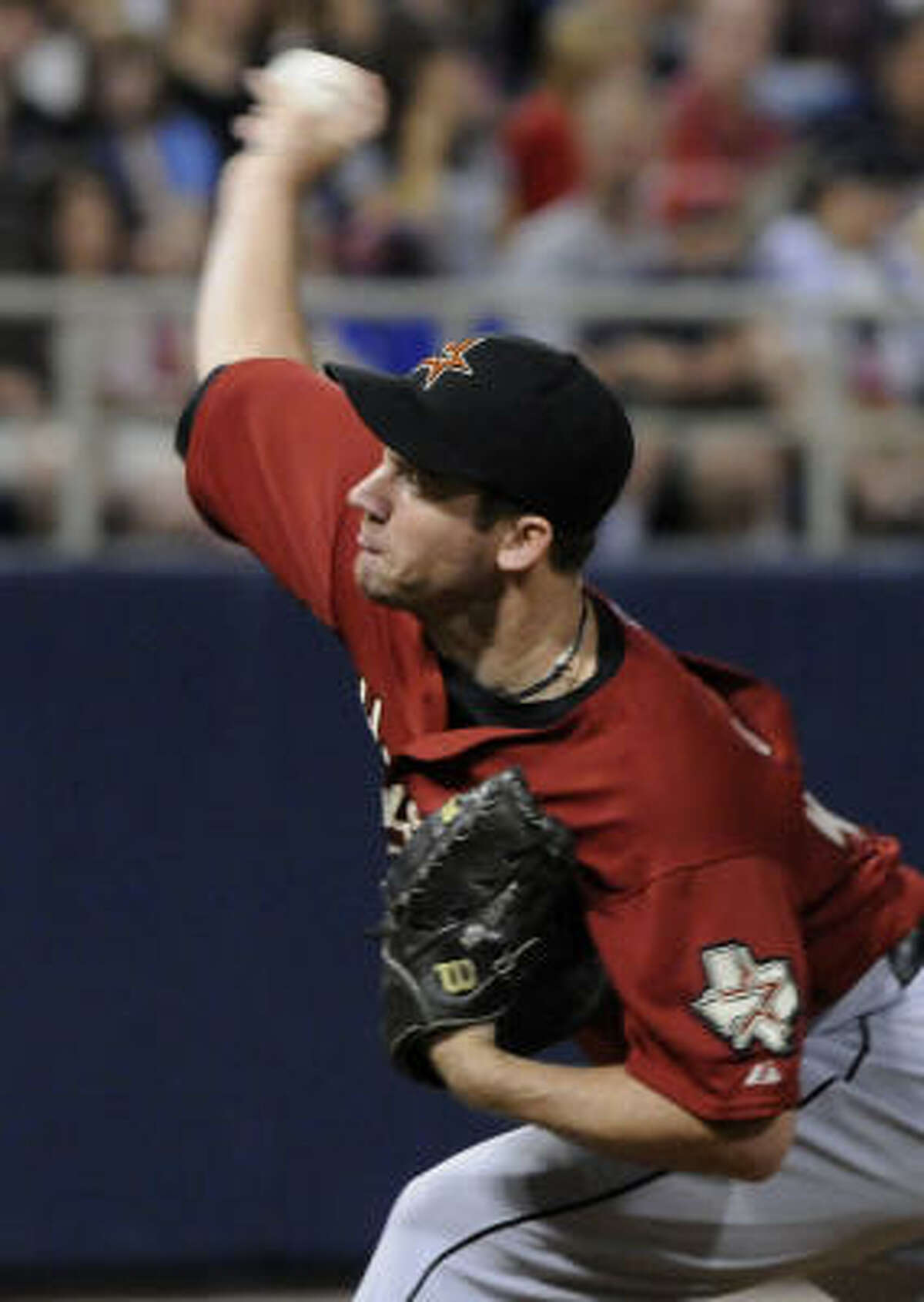 Houston Astros' Roy Oswalt pitches against the Minnesota Twins in the first inning.