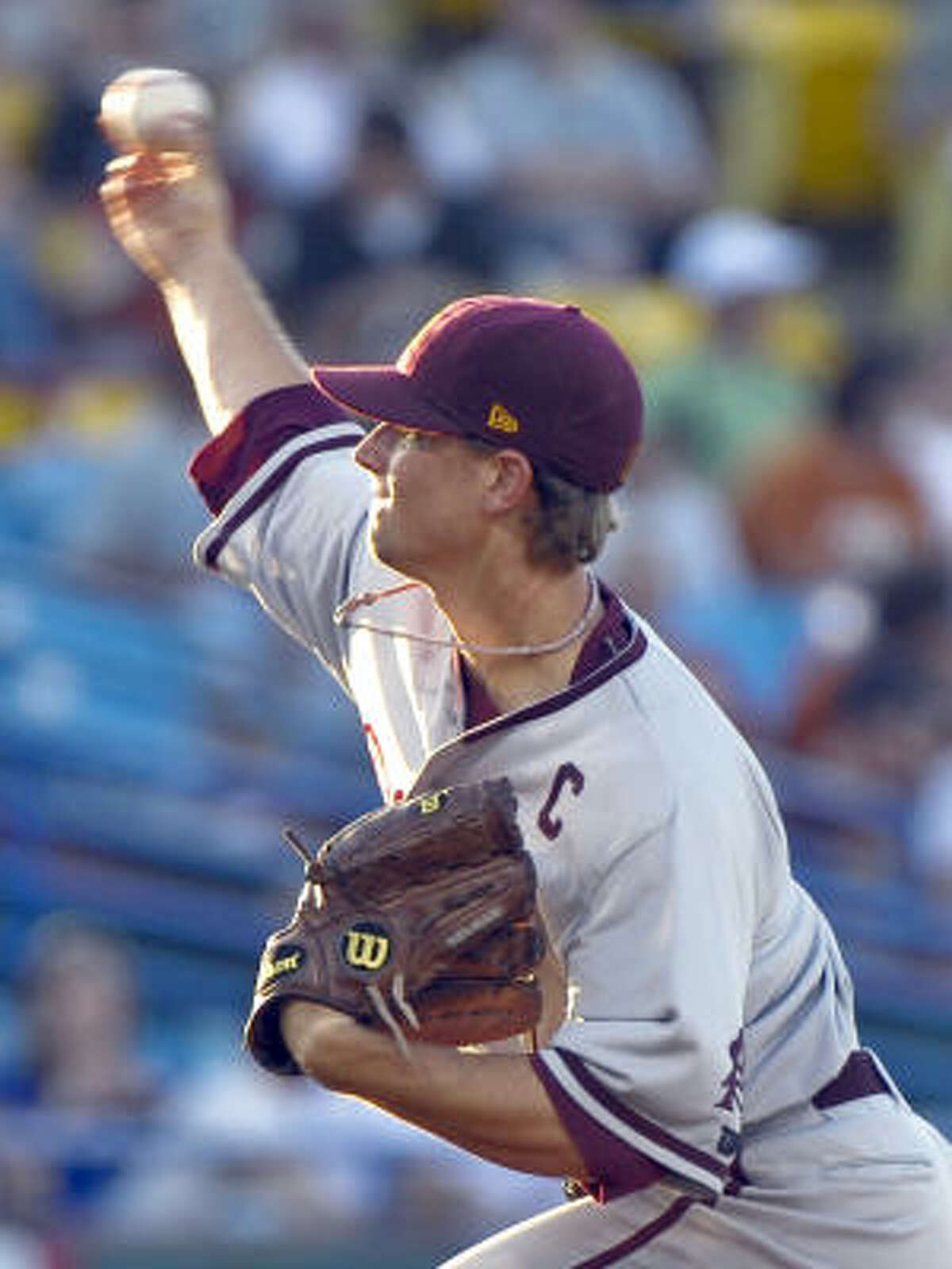Texas 4, Arizona State 3ASU starter Mike Leake delivers against Texas in the first inning.