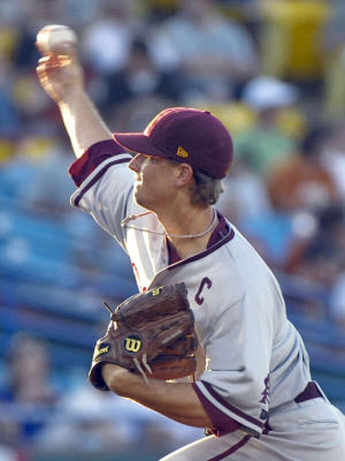 Texas 4, Arizona State 3ASU starter Mike Leake delivers against Texas in the first inning. Photo: Ted Kirk, AP