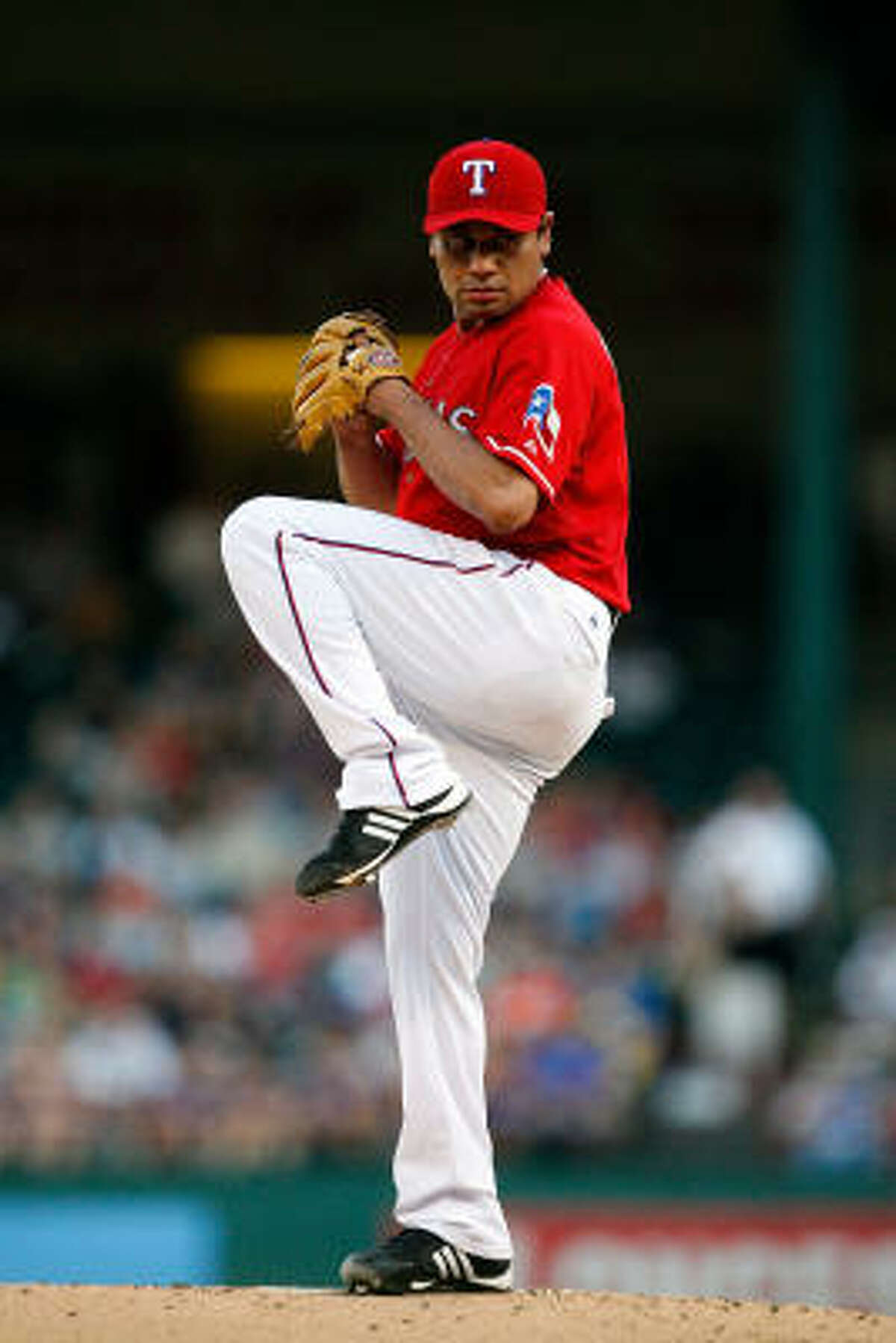 Rangers starter Vicente Padilla gave up three runs on seven hits in six innings of work against the Astros.