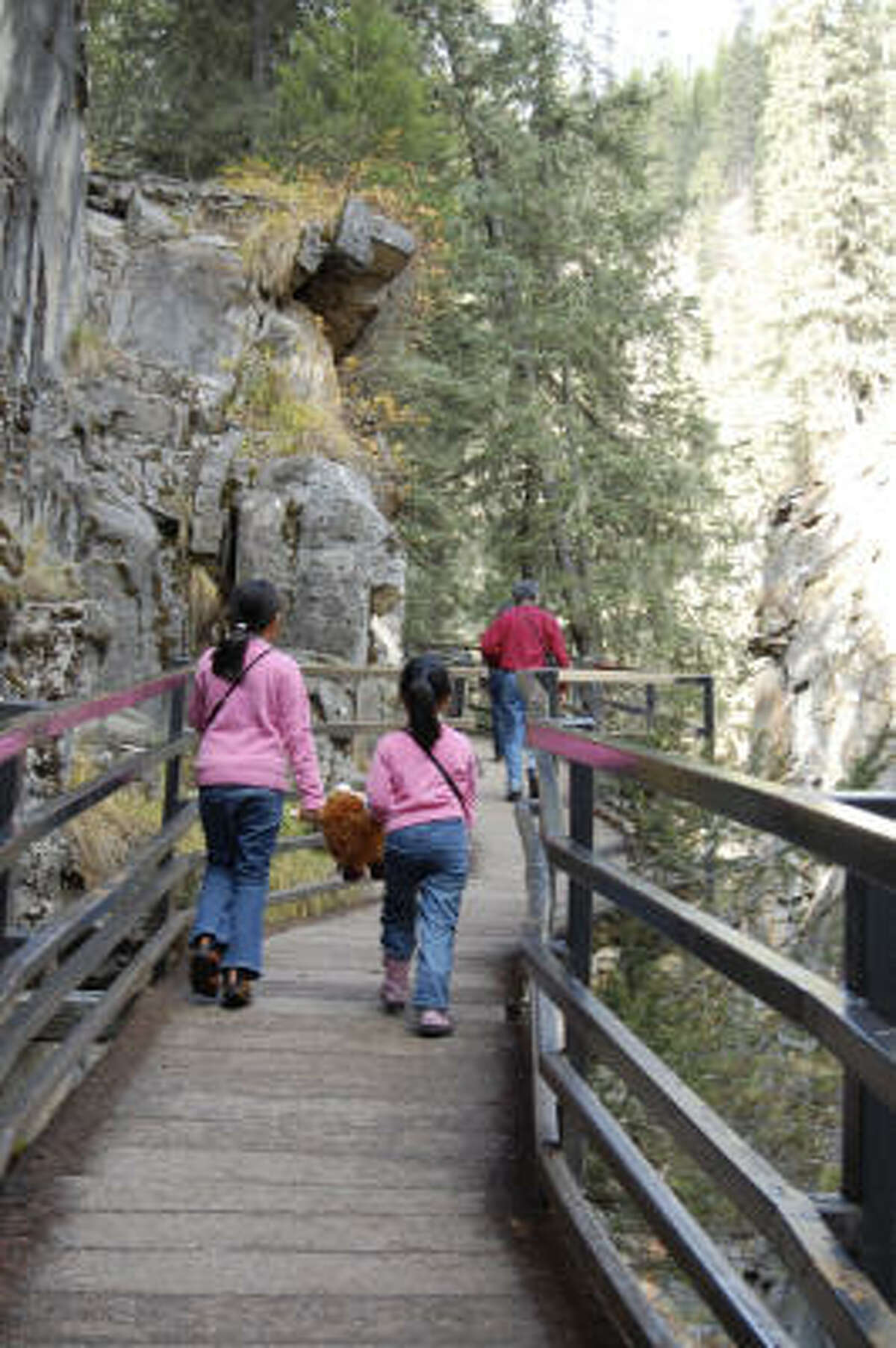 Banff National Park's Johnston Canyon is an easy, well-maintained path that families frequent.