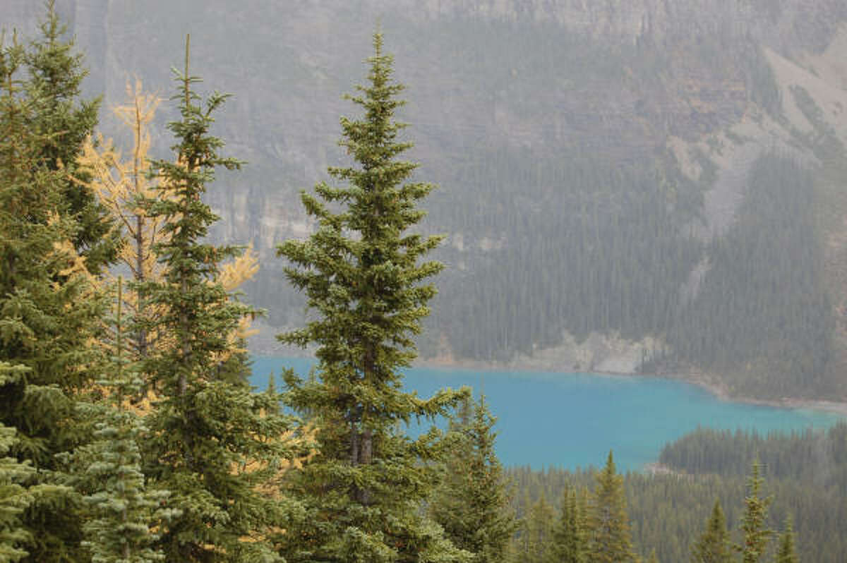 Views of turquoise Moraine Lake from Sentinel Trail are spectacular even on a cloudy day.