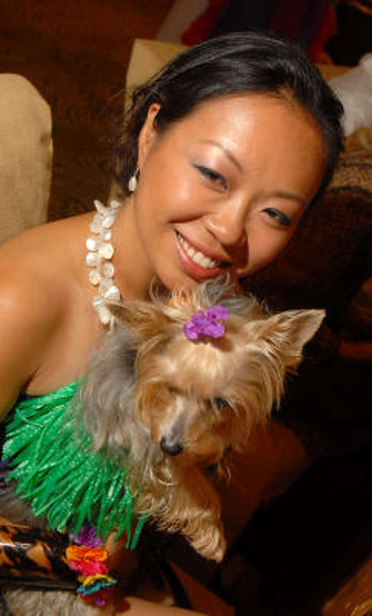 Miiya Shay with her dog Mei Ling