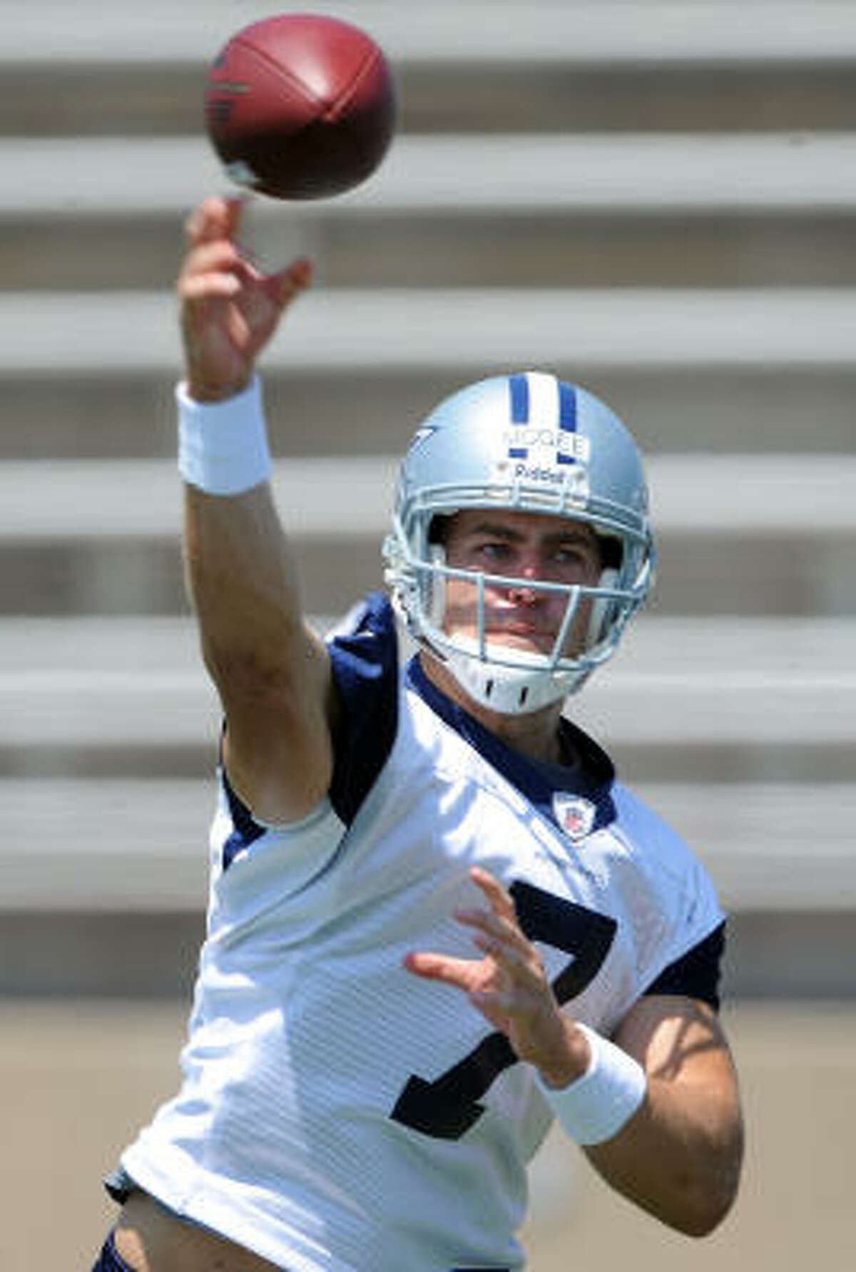 Dallas Cowboys Former Texas A&M quarterback Stephen McGee warms up with some tosses Tuesday, June 16 in Carrollton.