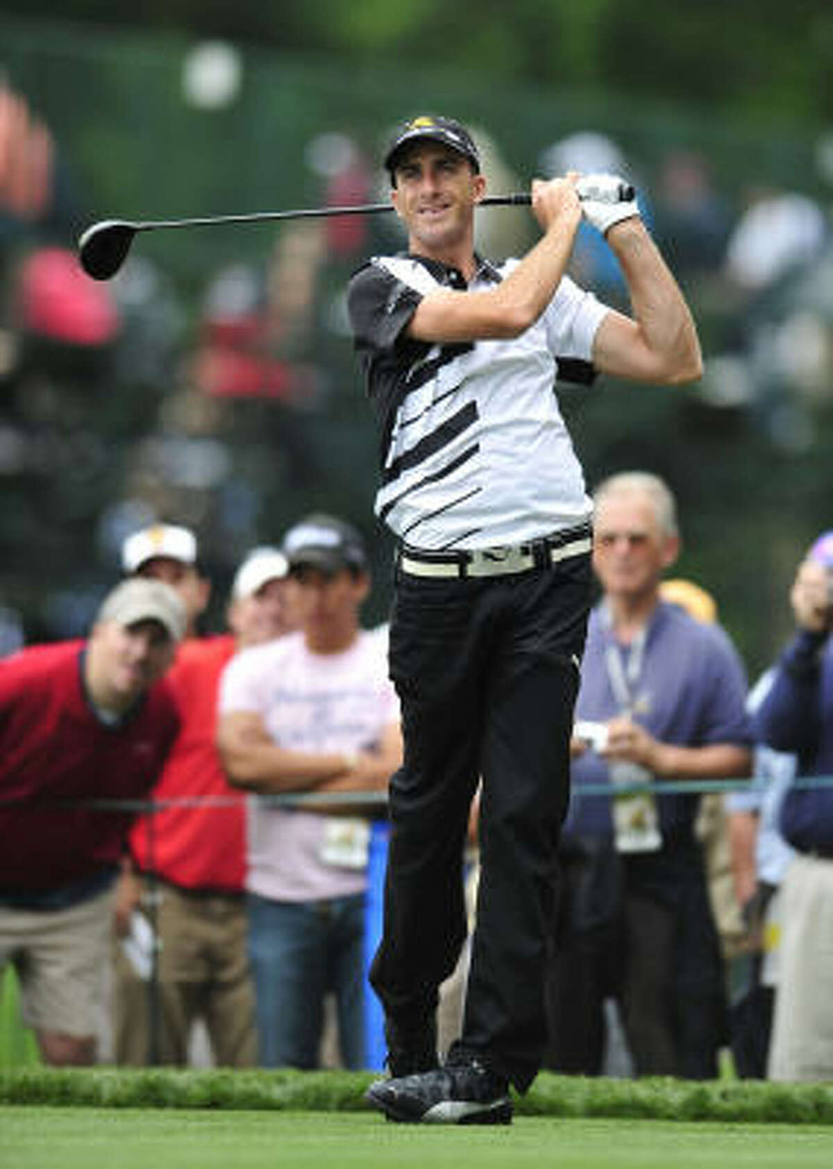 Geoff Ogilvy tees off during a practice round for the U.S. Open at Bethpage Black in Farmingdale, New York.