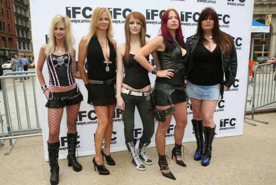 America's Hottest Rocker Mom finalists were Shawna Owens, from left, Kat Everson, Natalie Hawkins, Debra Diament, and Valerie Nerres. Photo: IFC