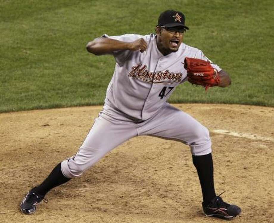 Astros closer Jose Valverde struck out the side in the ninth inning of the 8-3 win. Photo: Ross D. Franklin, AP