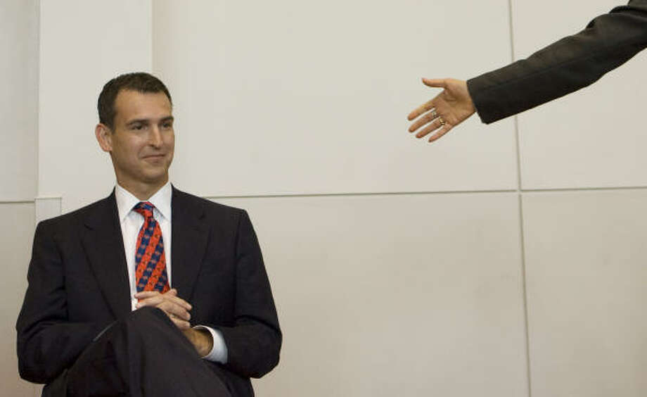 Mack Rhoades is introduced as the University of Houston's new athletic director. Photo: James Nielsen, Chronicle