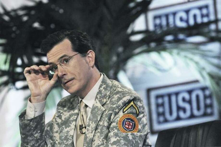 "In a four-episode series within the ""Colbert Report,"" Stephen underwent the U.S. Army's basic training regimen in Baghdad, Iraq. At the end of the series, U.S. President Barack Obama ordered Stephen's head to be shaved in front of cheering troops. Photo: STEVE MANUEL, AP"