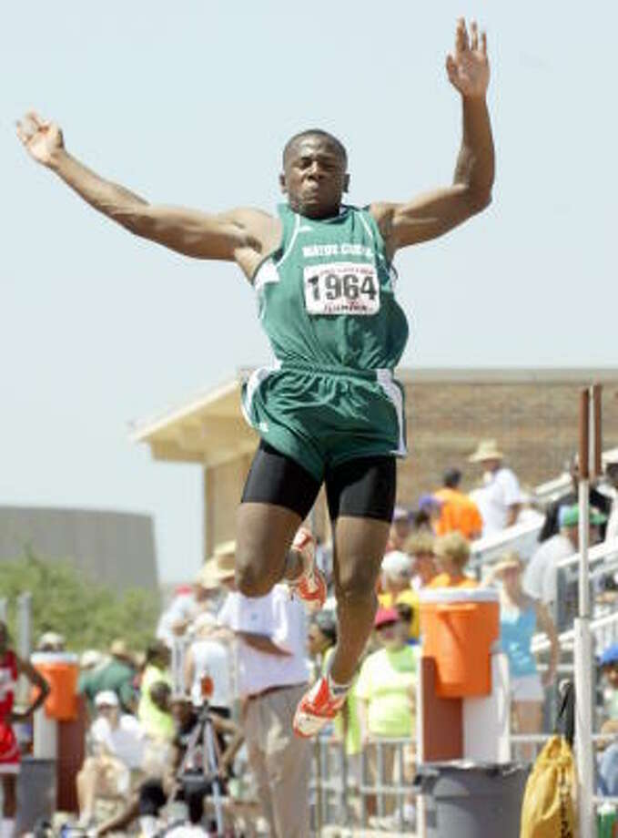 Creek's Emerson Sanders jumped 47 feet 3.50 inches to take silver in the triple jump. Photo: Gerald James, Chronicle