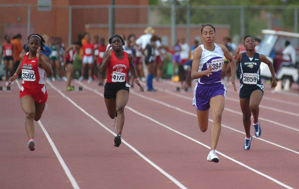 TSU Relays: Marissa Wiley of MacArthur, left, Miracle Jernigan of South Houston, Dominique Duncan of Wheatley and Destiny Murrillo of Nimitz run in the 100-meter event.