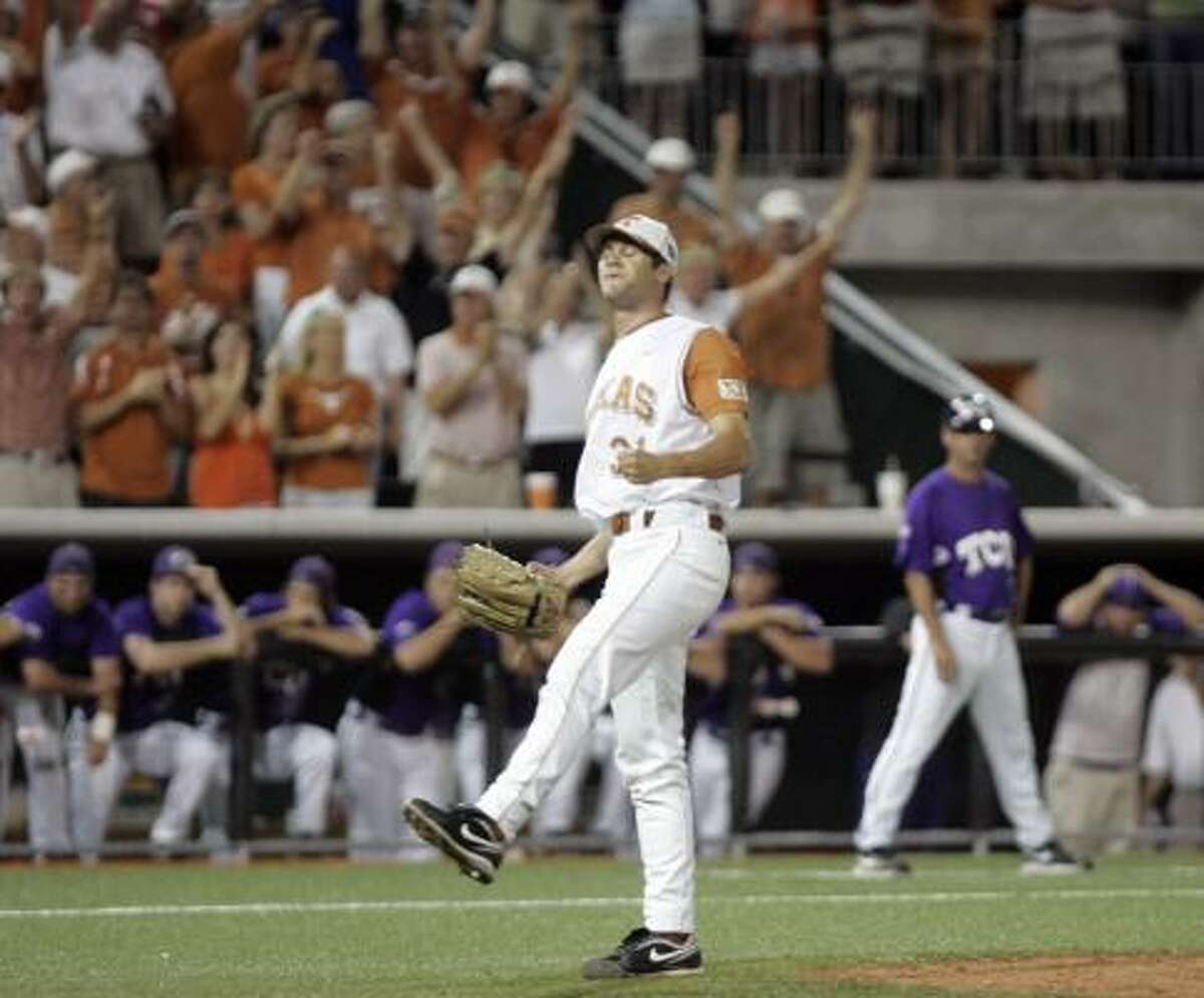 Texas relief pitcher Chance Ruffin reacts after striking out the final TCU batter in Texas' 5-2 win.