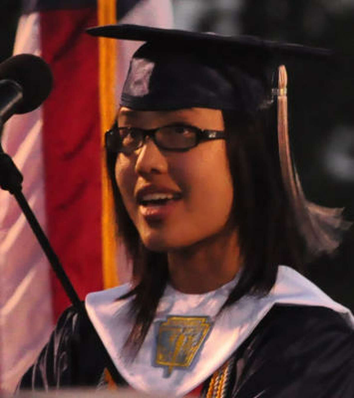Tiffany Nichole Han gives the Valedictorian address.
