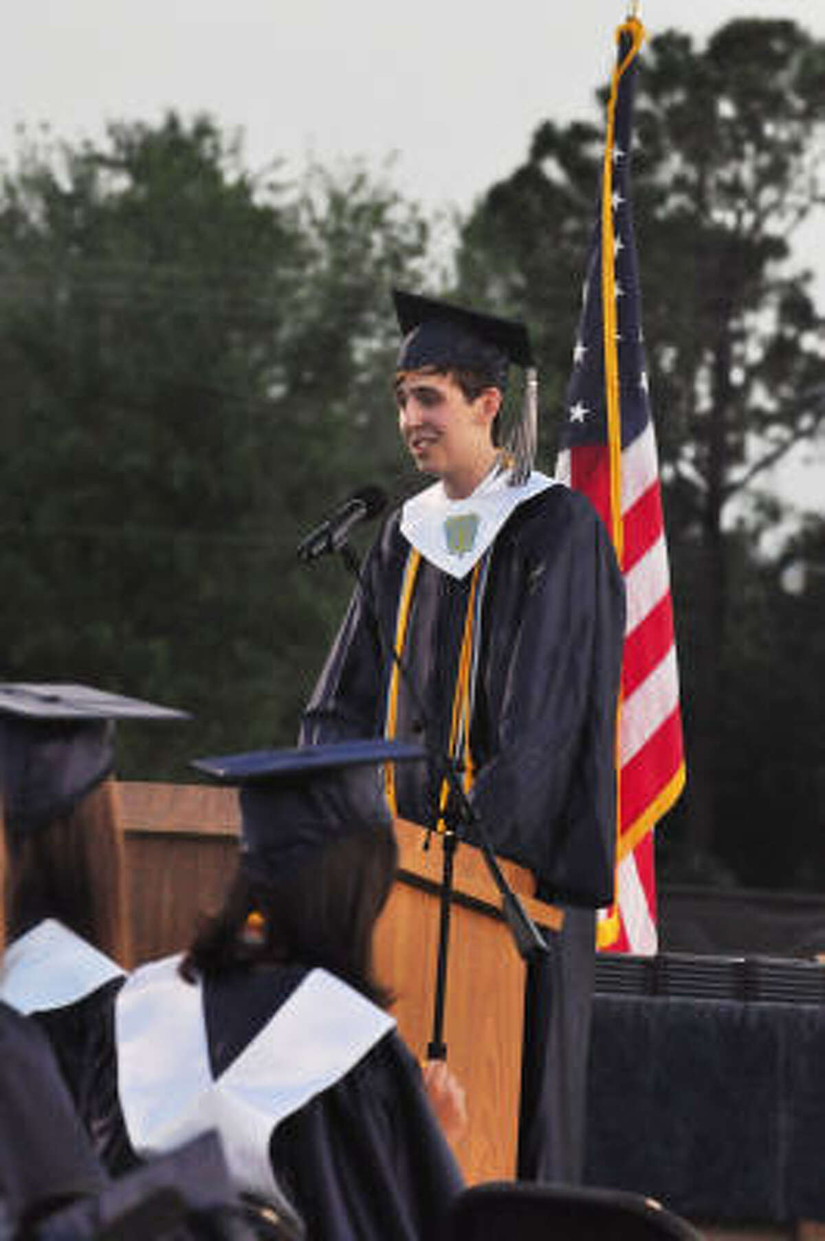 Salutatorian Johnathan Logan Dietz speaks.