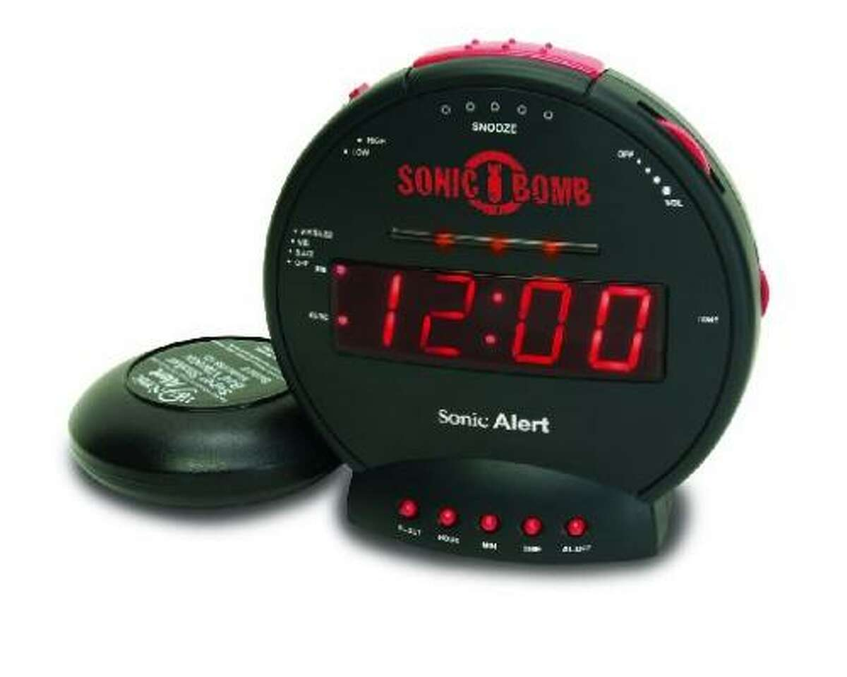Sonic Bomb Alarm Clock: Features a 113-decibel alarm with adjustable tone and volume control, a 12-volt bed shaker. Bright-red LED display with pulsating flash alert lights and high/low dimmer capability. The clock can also be set to sound and vibration notification only. $43, available at www.SonicAlert.com.