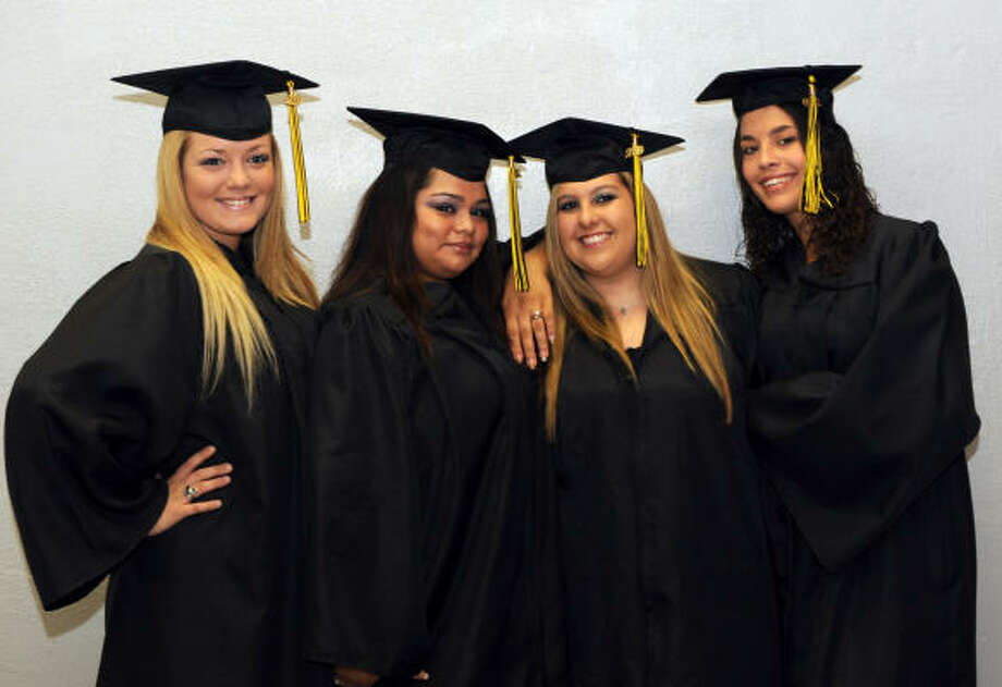 This year 78 students graduated from Clear View Education Center. Four of them, from left, are Melanie Mount, Daniella Ulloa, Triana Waid and Kelcey Overton. Photo: Kim Christensen, For The Chronicle