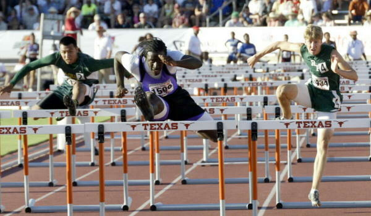 Dayton's Cameron Lacour won gold in the 110-meters hurdles in 13.58 seconds.