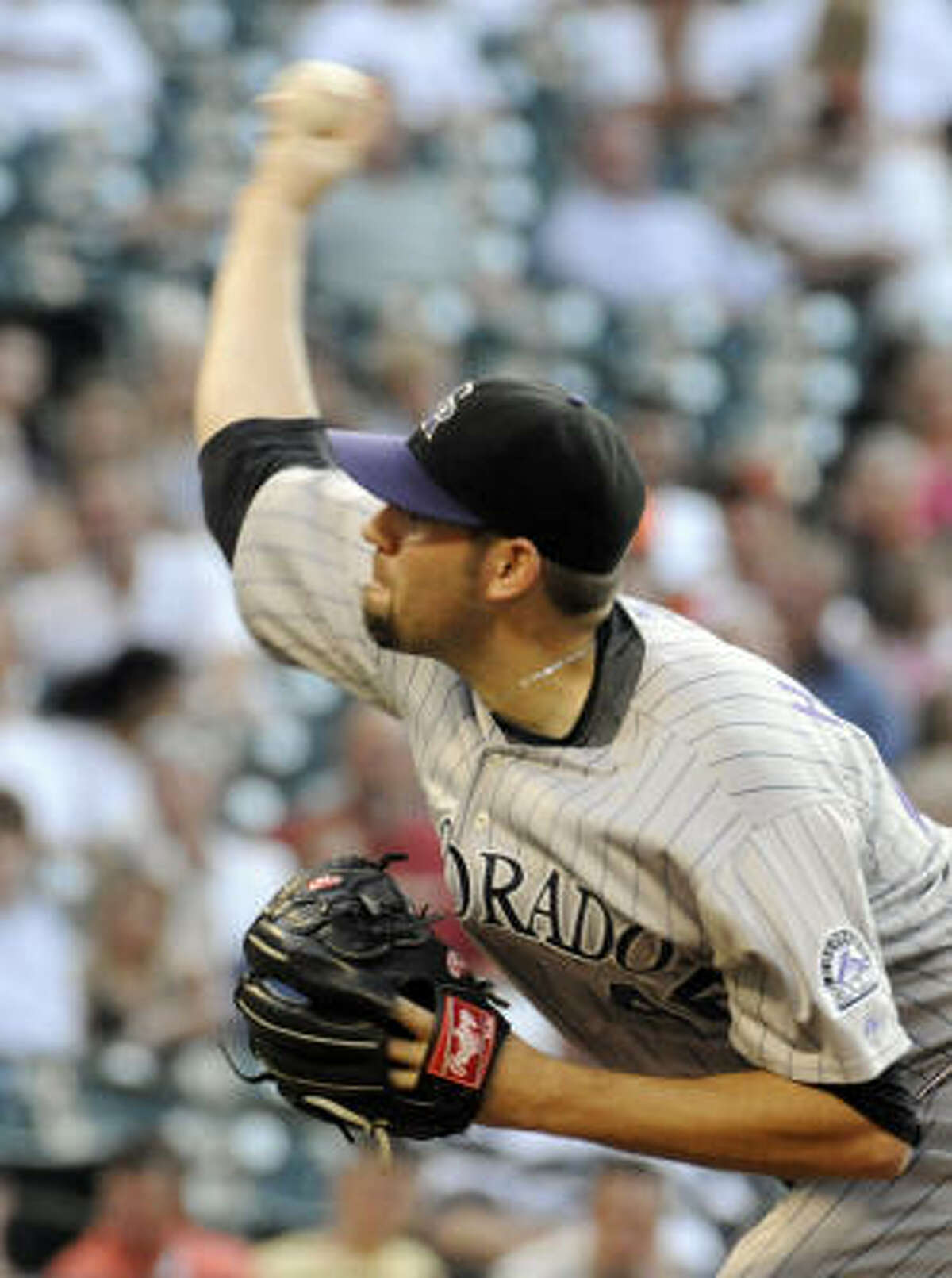 The Rockies provided plenty of offense while Colorado starter Jason Hammel held the Astros to two runs on four hits in seven innings of work.