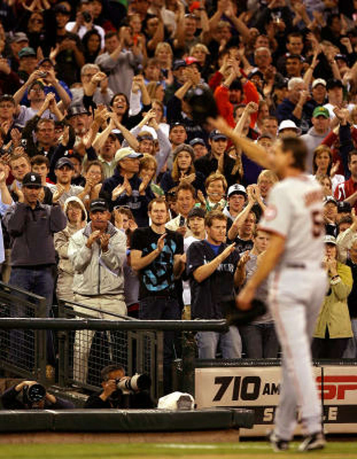 Randy Johnson acknowledges the crowd after coming out of the game in the sixth inning against the Mariners on May 22, 2009 in Seattle.