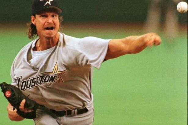 Astros lefthander Randy Johnson throws a pitch against the Philadelphia Phillies.