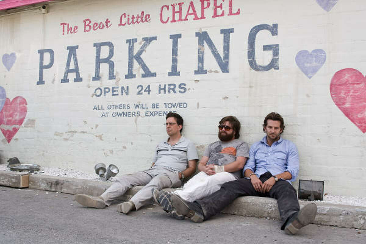 From left, Ed Helms as Stu, Zach Galifianakis as Alan and Bradley Cooper as Phil in The Hangover.