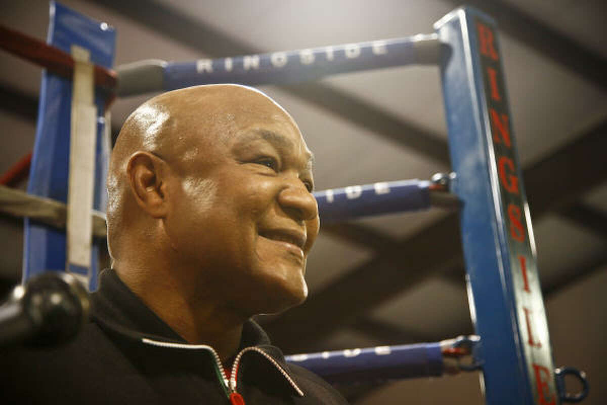 """Former two-time heavyweight champion George Foreman talks about his son, George """"Monk"""" Foreman III, a 6-5, 240-pound Houston native who graduated from Rice in 2006."""